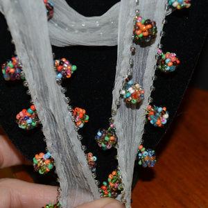 Chan Luu Accessories - CHAN LUU SKINNY SCARF Necklace beaded pom pom NWT